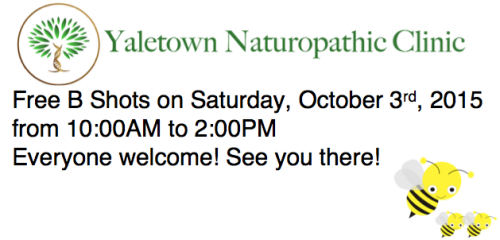 FREE B Vitamin Injections at Yaletown Naturopathic Clinic on Saturday, Oct 3, 2015 10AM to 2PM!